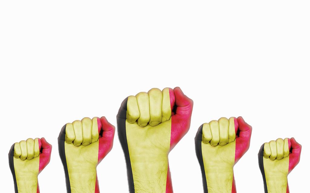 Belgium raised fist, protest concept