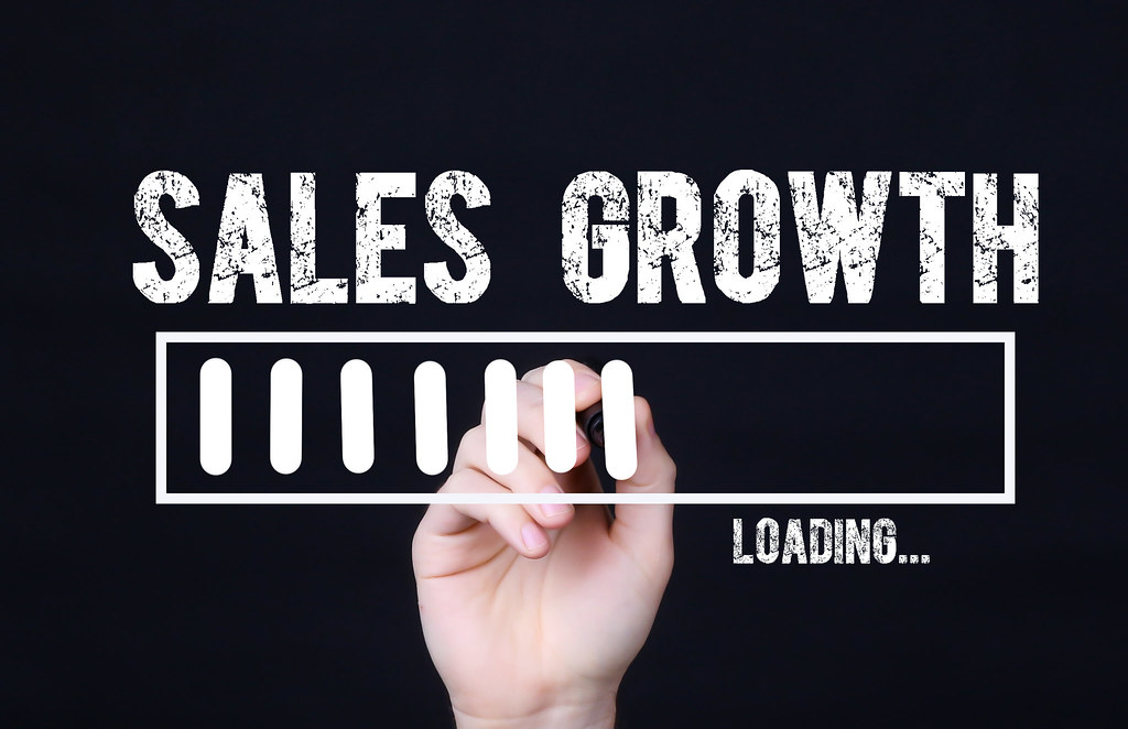 Handwriting Text Sales Growth Loading. Concept meaning  Forecasting the future event