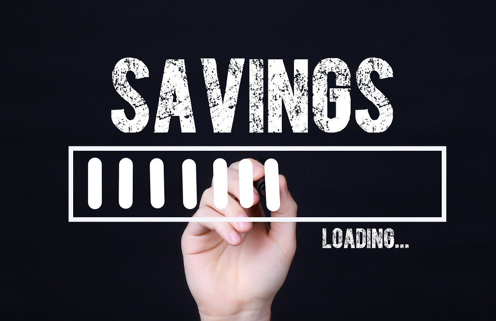 Handwriting Text Savings Loading. Concept meaning  Forecasting the future event