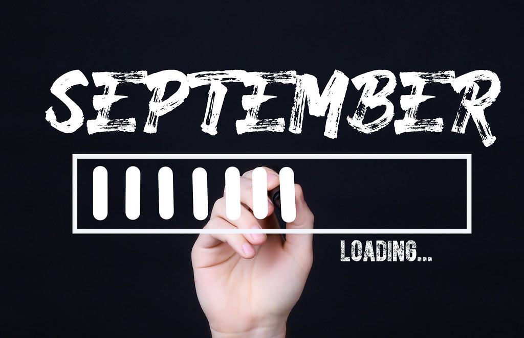 Handwriting Text September Loading. Concept meaning  Forecasting the future event