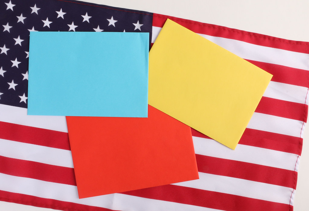 American flag with empty notes