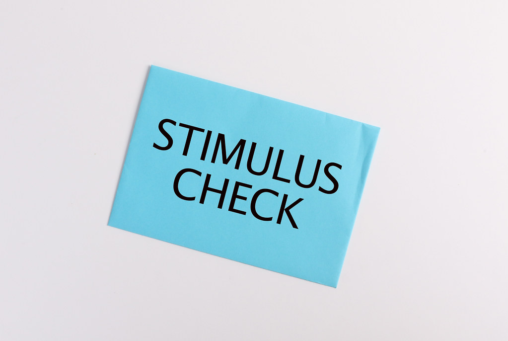 Blue envelope with Stimulus Check text on white background