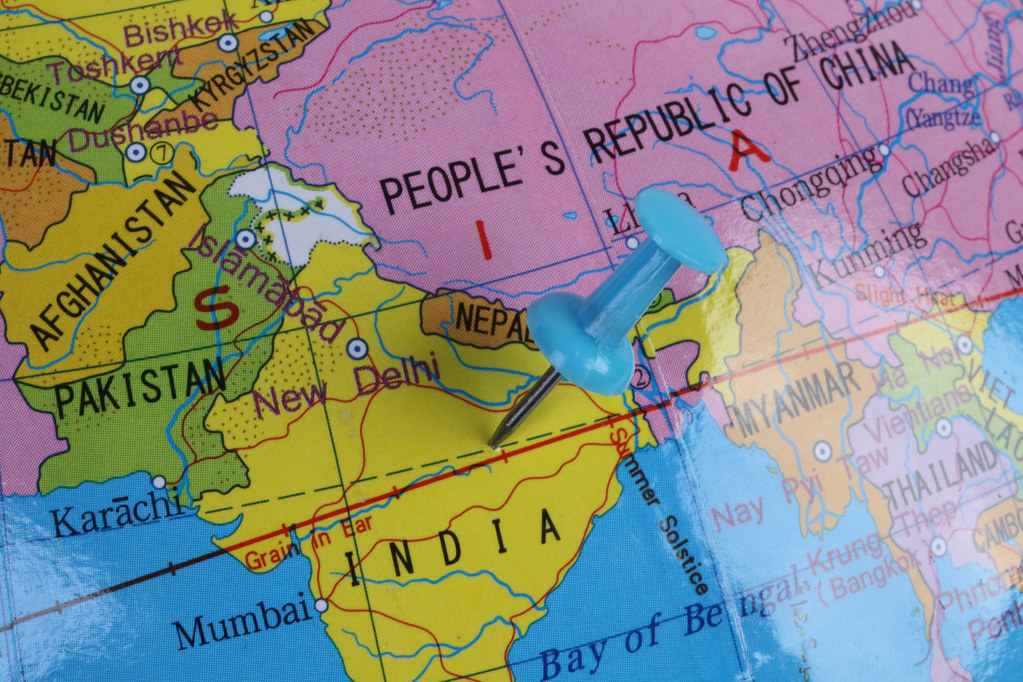 Location India. Blue pin on the map.