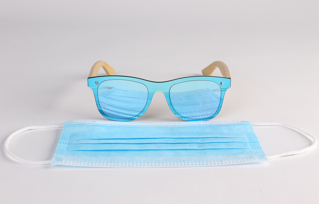 Sunglasses and medical face mask