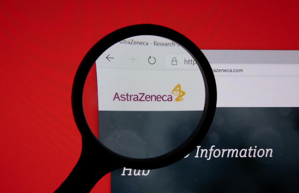 AstraZeneca company website page logo on laptop display